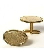 Vintage Oval Brushed Gold Cufflinks Mens Classic 70s Avon 1971 - $20.89