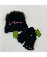 Women's Black Kate Spade Meow Beanie and Meow Mitten Set, - $124.74