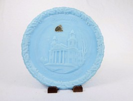Blue Satin Glass Plate ~ Christmas 1972 The Two Horned Church, Fenton Ar... - $24.45