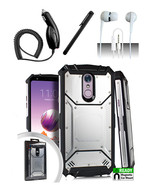 LG Stylo 4 Silver Jacket Hybrid Dual Layer Metal Plate Magnetic Case Cover  - $13.99