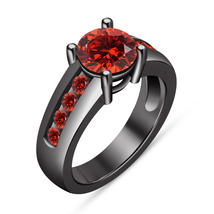 Round Garnet Solitaire Engagement Wedding Ring 14k Black Gold Finish 925... - $72.98