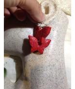 Hand Carved Vintage Genuine Cinnabar Butterfly Charm Earrings - $95.04