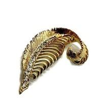 Vintage Rhinestone Leaf Brooch, 1960's Textured Open Work Gold Tone Pin* - $14.84
