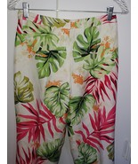 TALBOTS LADIES 100% SILK LINED WHITE/FLORAL PANTS-6P-WORN ONCE-DRY CLEAN... - $15.99
