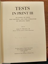 Tests in Print III (Tests in Print (Buros)) (v. 3) Buros Center and Mitc... - $27.71