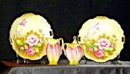Green Red Floral cream and sugar with lid plus two plates Lefton NE 719 AA19-158 image 2
