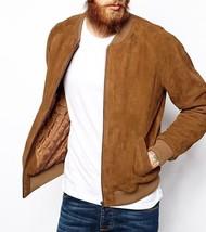 Mens Leather Jacket Bomber Suede Brown Flight Jacket - $136.13