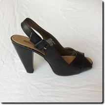 Kenneth Cole Reaction Black Leather Open Toe Sling Back 8.5 - $26.99