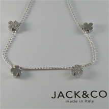 925 RHODIUM SILVER JACK&CO NECKLACE WITH FOUR LEAF CLOVER PENDANT MADE IN ITALY image 1