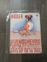 """16""""  BOXER Dog pup Traits 3d cutout retro USA STEEL plate display ad Sign - $68.60"""