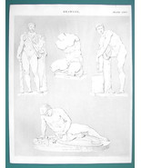 DRAWING for Artists Nude Figures Hercules Gladiator - c. 1835 Fine Quali... - $9.45