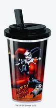 Harley Quinn Figure Acrylic Travel Cup with Flip Top Lid Batman, NEW UNUSED - $9.51