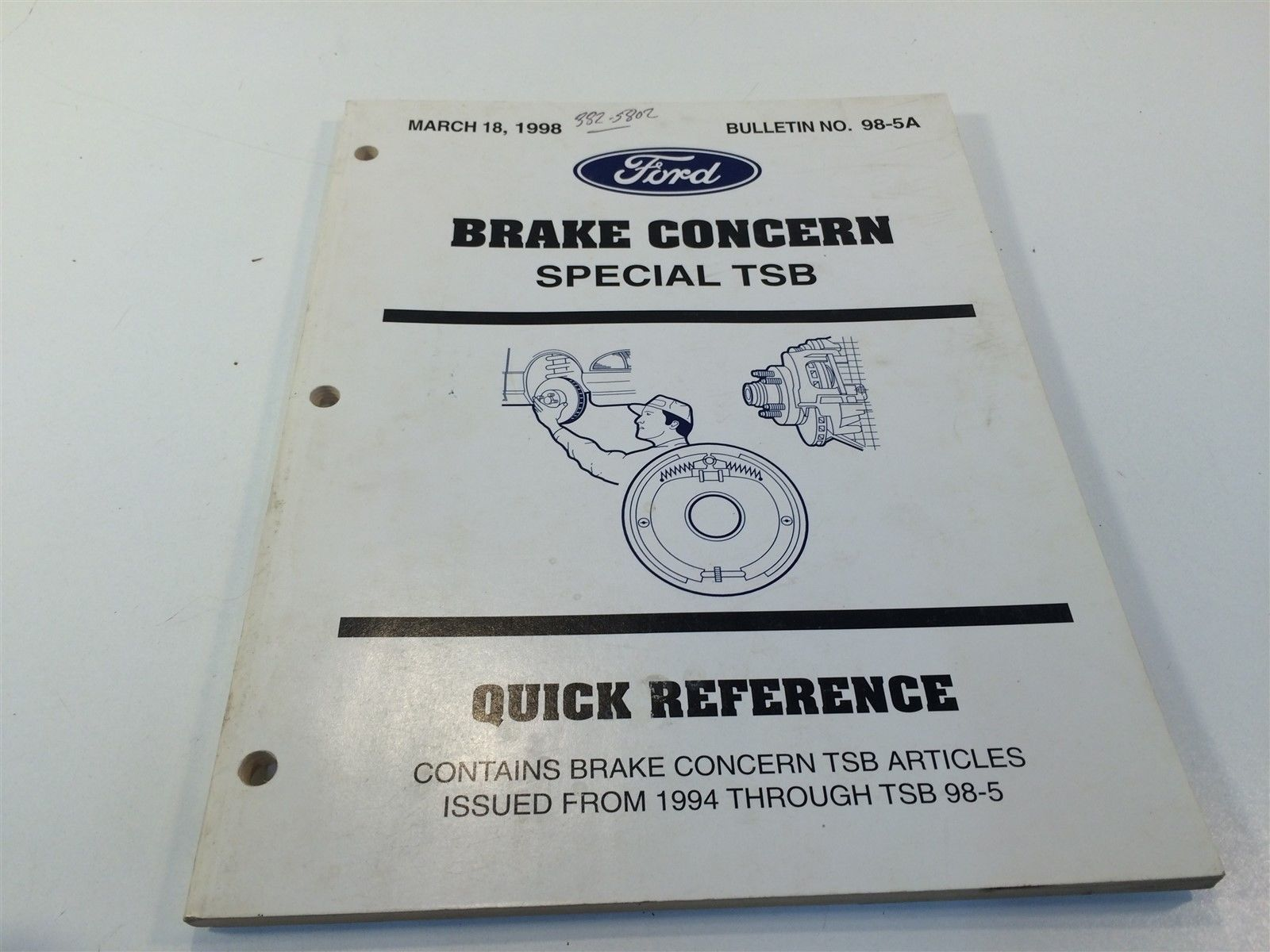 Primary image for Ford Brake Concern Quick Reference Special TSB: March 18, 1998 98*5A