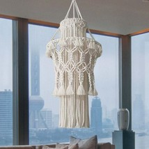 Hand-knitted Lampshade Macrame Hanging Lamp Decoration Living Room Wedding Decor - $89.50