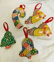 Vintage Christmas Lot of 5 Hand Sewn 2 sided STUFFED Fabric Ornaments  - $19.79