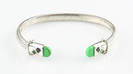 """Sterling Silver Cable Cuff Bracelet w/ Green Accents 7"""" Long 6 mm Wide 2... - $178.20"""
