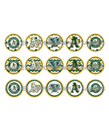 "MLB Oakland Athletics 1"" Bottle Cap Image Sheet... - $2.00"