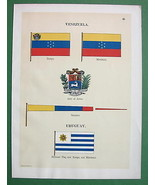 FLAGS of Uruguay & Venezuela Coat of Arms - 189... - $12.86
