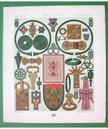 JEWELRY Fashion of Ancient Gauls & Celts - COLOR Antiqe Print  A. RACINET - $14.85
