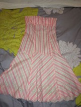 Anthropologie  RUTH Strapless Pink & White Striped Floral Grad Dress Size 8 - $54.99