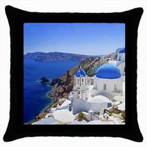 Santorini Blue Sea Greece Throw Pillow Case - $16.44
