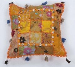 "16"" Indian Cotton Patchwork Throw Decor Pillow ... - $18.69"