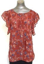 Rubbish Rust Red Blue Round Neck Sleeveless  Blouse Top Size M - $11.72
