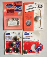 4 Vintage 1960s Covered Button Kits DRITZ • PRIMS • MAXINE MIRACLE • FRE... - $8.86
