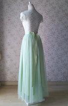 Floor Length Full Tulle Skirt Bridesmaid Long Tulle Skirt Back-bow Pastel Green  image 5