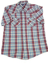 Mens Gap XL Red and Blue Plaid SS Western Shirt Top Extra Large - $18.00