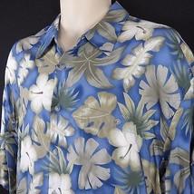 Men's Campia Moda XL Hawaiian Shirt Blue Floral Hibiscus Leaves 100% Rayon - $23.33