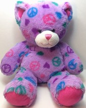 Build a Bear Peace Sign Light Purple Bear Plush... - $14.84