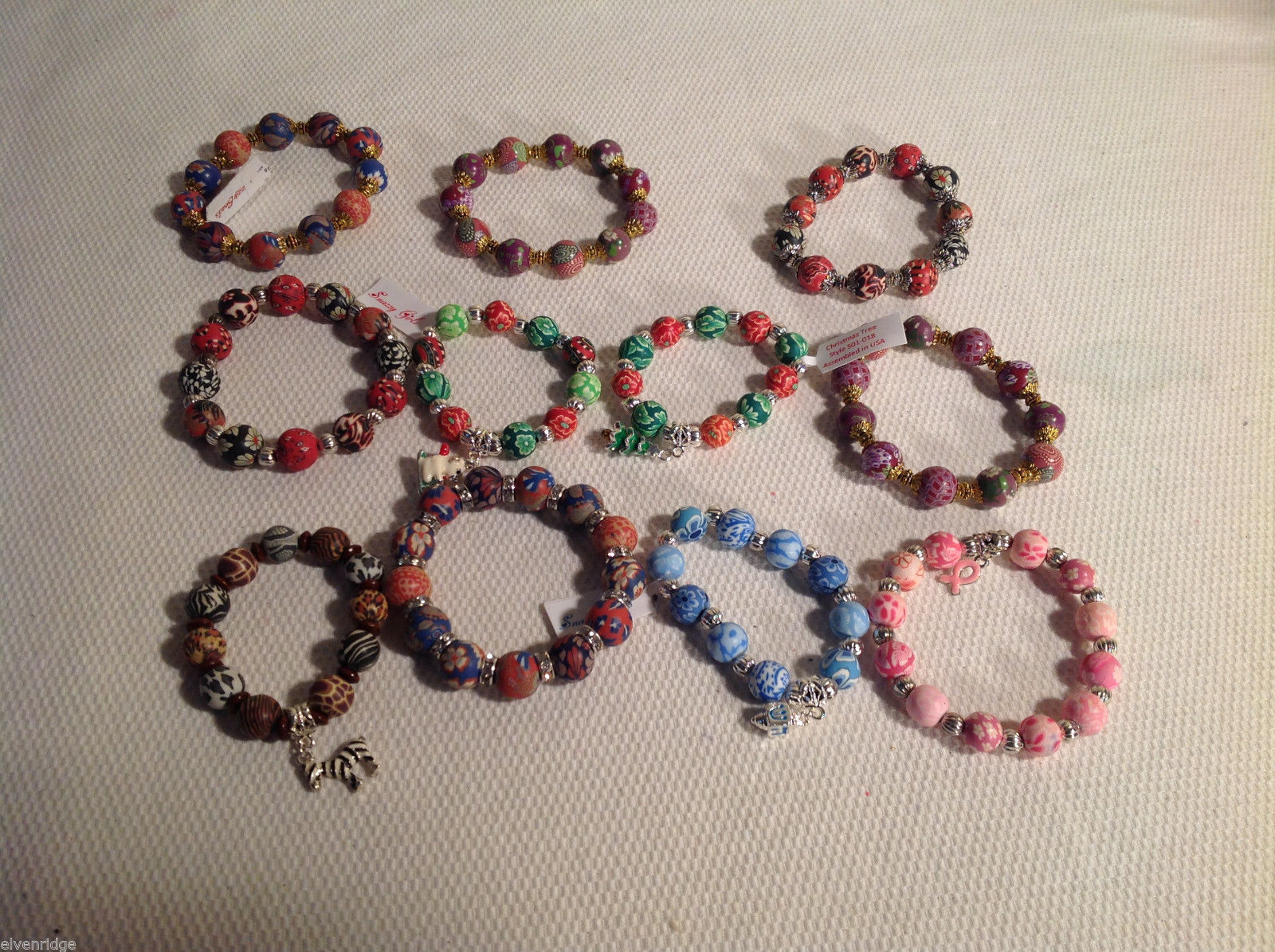 11 pc beaded bracelet lot - charms, USA hand made design stretchy by Snazzy