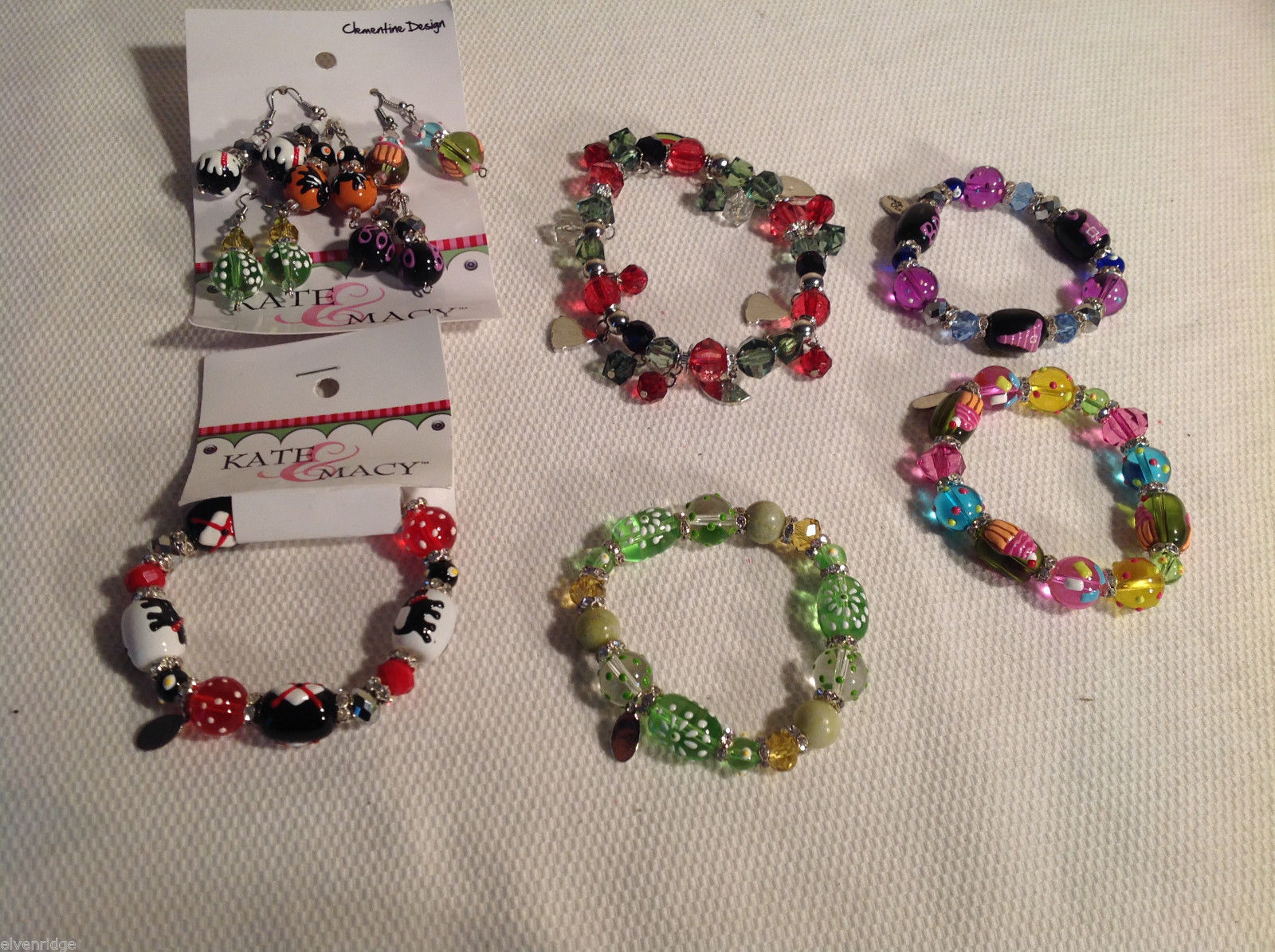 10 pc glass lampwork bead jewellery lot - 5 bracelets, 5 earrings Kate and Macy