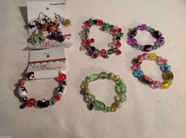10 pc glass lampwork bead jewellery lot - 5 bracelets, 5 earrings Kate and Macy image 1
