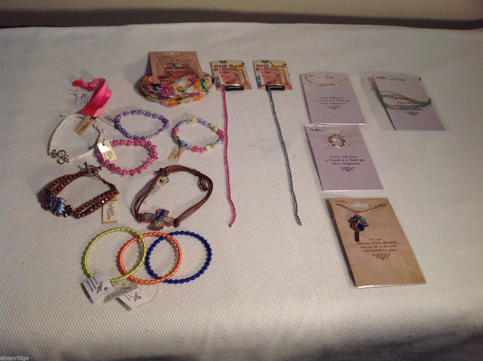 17 pc Calypso Studios Lot - 9 bracelets, 1 hairtie, 1 headband, 2 bead chains ++