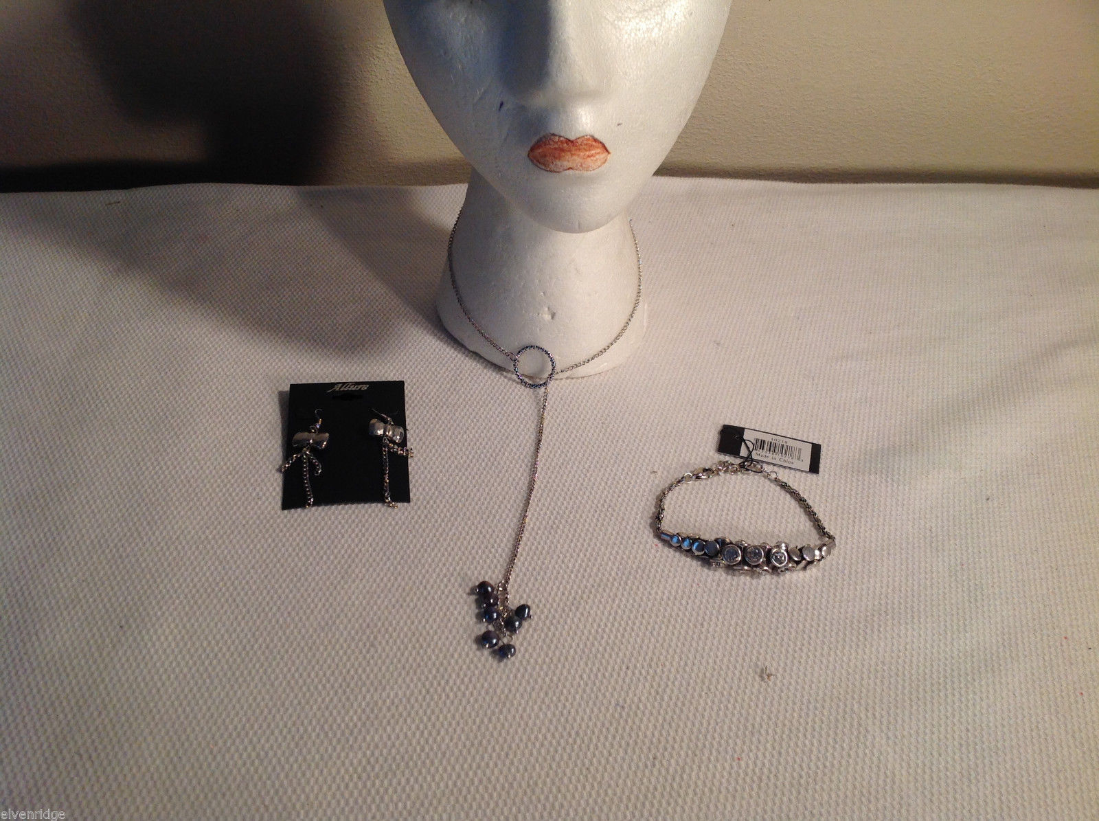 3 pc lot - necklace, earrings, bracelet, black pearls CZs Allure