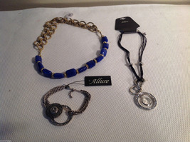 3 pc lot 2 necklaces 1 bracelet blue stone gold tone crystals CZs Allure
