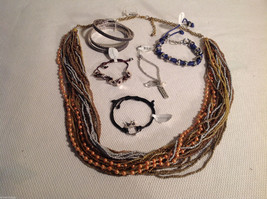 8 pc jewellery lot - 1 necklace, 7 bracelets, multistrand gold tone Sheerwater