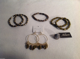 7 pc lot - 5 bracelets, earrings, ring gold tone silver tone Allure Sheerwater
