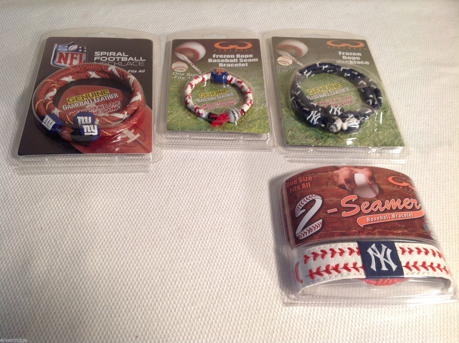 4 pc lot of NY Yankees + Giants leather necklaces bracelets NEW Gamewear