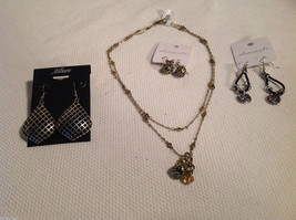 4 pc lot - 1 necklace, 3 pairs of earrings, multistrand Allure Sheerwater