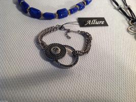 3 pc lot 2 necklaces 1 bracelet blue stone gold tone crystals CZs Allure image 2