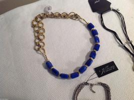 3 pc lot 2 necklaces 1 bracelet blue stone gold tone crystals CZs Allure image 5