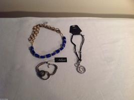 3 pc lot 2 necklaces 1 bracelet blue stone gold tone crystals CZs Allure image 7
