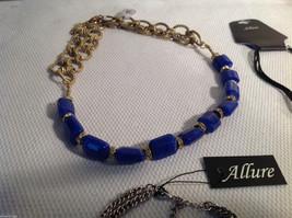 3 pc lot 2 necklaces 1 bracelet blue stone gold tone crystals CZs Allure image 4