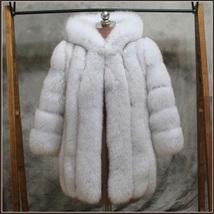 Long Full Pelt Hooded Snow White Fox Faux Fur with Long Sleeves Luxury Fur Coat image 2