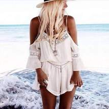 Loose Off Shoulder Lace Rompers - $25.80