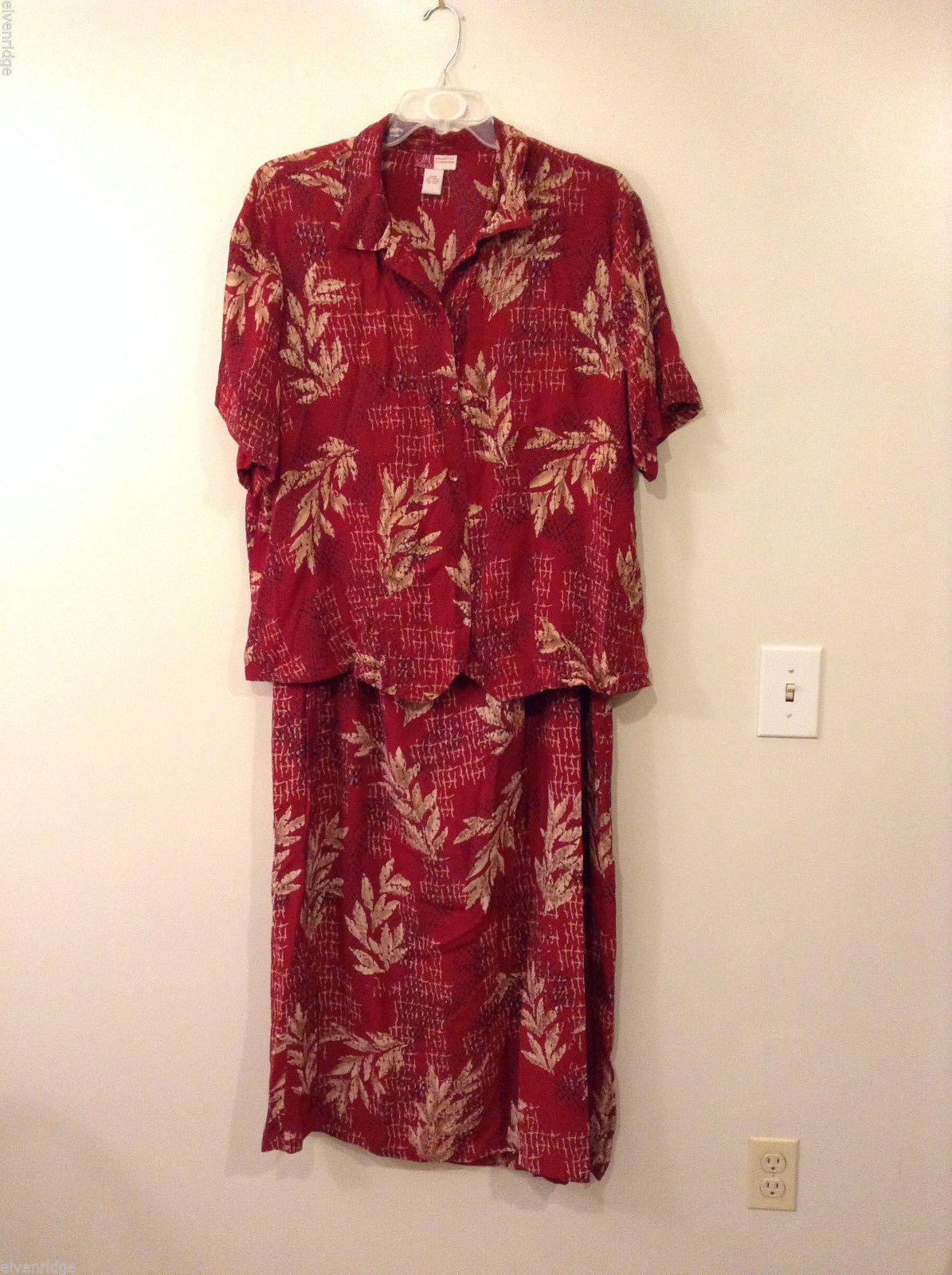 Jennifer Moore Blouse Skirt 2 piece set Red Light Brown Floral Pattern size 24W