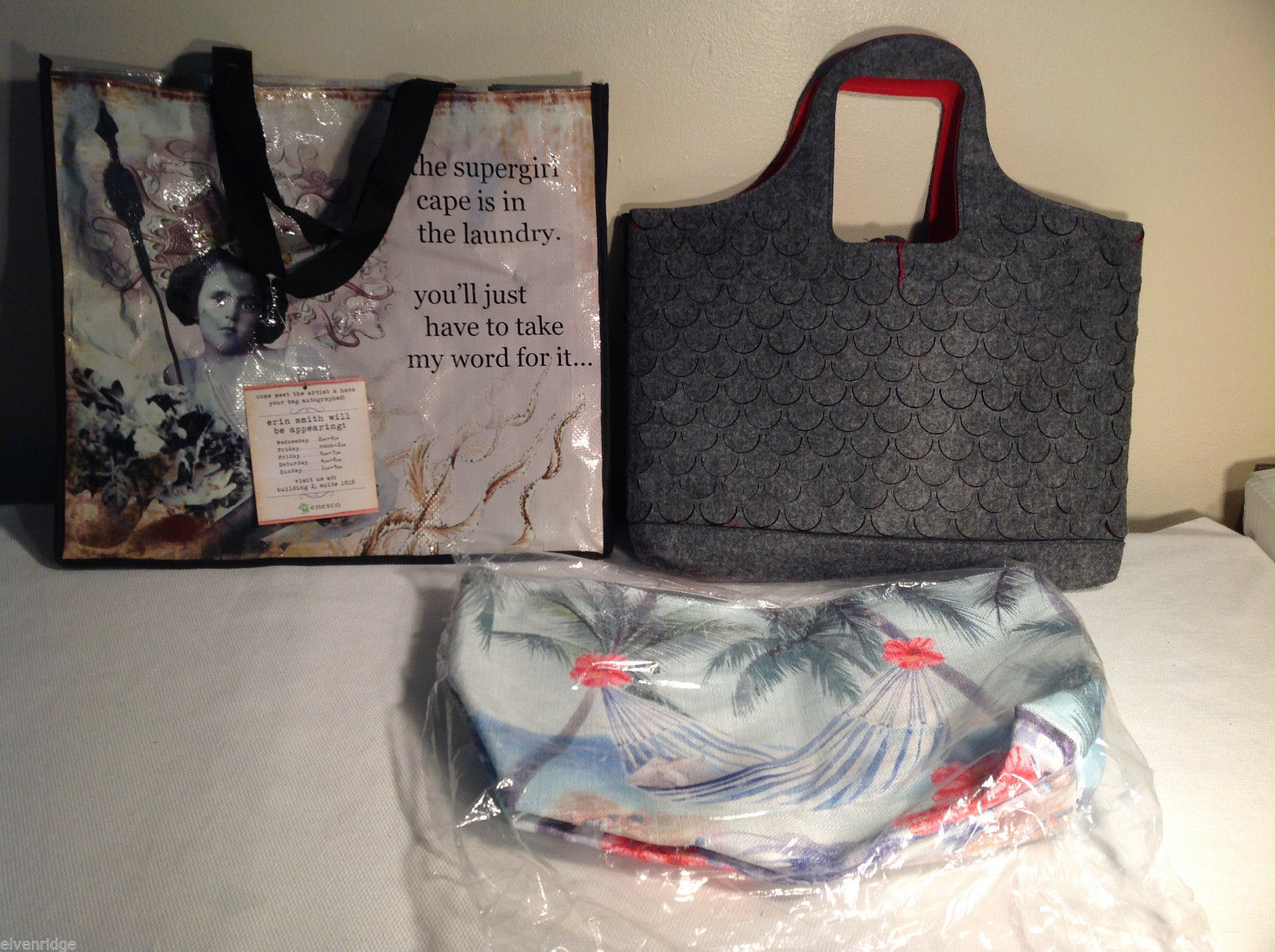 Lot of 3 NEW tote bags Mad Style Enesco grey beach felt